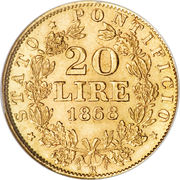 20 lire - Pius IX – revers