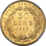 50 lire - Pius IX – revers