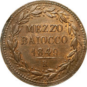 ½ baiocco - Pius IX – revers