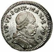 muraiola of 2 baiocchi - Pius VI – avers