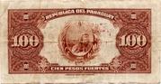 1 Guarani (Overprint on 100 Pesos Fuertes) -  revers
