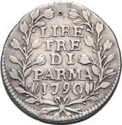 3 lire - Ferdinando di Borbone – revers