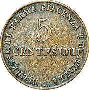 5 centesimi - Maria Luigia – revers