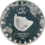 5 euros Canaux d'Amsterdam (cuivre plaqué argent) – revers