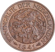 2½ Cents - Wilhelmina – avers