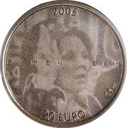 20 euros Jubilé d'argent – revers
