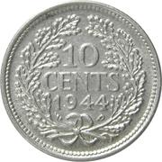 10 cents Wilhelmina – revers