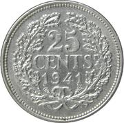25 cents Wilhelmina – revers