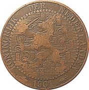 1 cent Wilhelmina (10 gros boucliers) – avers