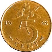 5 cent Wilhelmina – revers