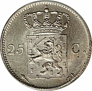25 cents - Willem I – revers