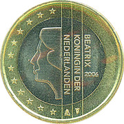 1 euro Beatrix (1ère carte) -  avers