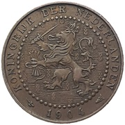 1 cent - Wilhelmina – avers