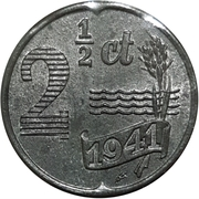 2½ Cents - Wilhelmina (Occupation allemande) – revers