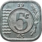 5 Cents - Wilhelmina ( Occupation allemande) – revers