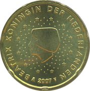 20 cents d'euro Beatrix (2e carte) -  avers