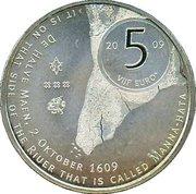 5 euros Manhattan (cuivre plaqué argent) – revers