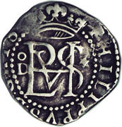 ½ real Philippe II (type monogramme) – avers