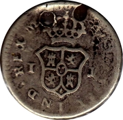 ¼ real Charles IV (type écusson) – revers