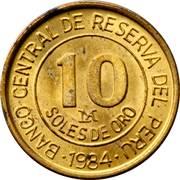 10 soles de oro Amiral Grau -  revers