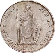 ½ real République (Monnaie de transition, Vierge debout) – revers