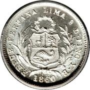 ½ real République (Monnaie de transition, Vierge assise) – avers