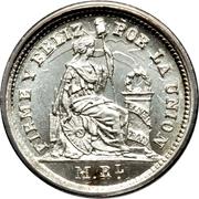 ½ real République (Monnaie de transition, Vierge assise) – revers