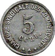 5 centimes - Chambre Syndicale des Commerçants - Perpignan [66] – revers
