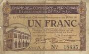 1 Franc - Chambre de Commerce de Perpignan (notgeld, 1915-1922) – avers