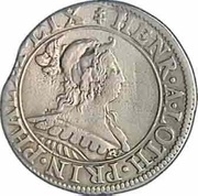 Teston au buste au chaperon et à l'écu Henriette de Lorraine (Principauté de Phalsbourg et Lixheim) – avers
