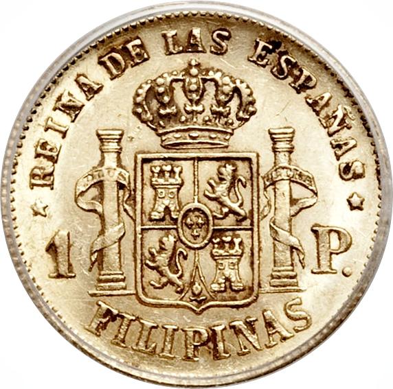 Gold .875 1.6915 g Isabella II KM #142 AGW=0.0475 1864 Philippines Gold 1 Peso