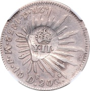 2 Reales - Isabel II - Counterstampled  on Mexico Guanajuato 2 Reales – avers