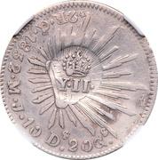 2 Reales - Isabel II - Refrapée sur un 2 Reales Guanajuato de Mexico – avers
