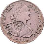 8 Reales - Charles IV -- Counterstamped Mexico 8 Reales – avers