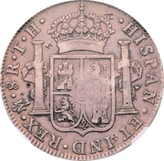 8 Reales - Charles IV -- Counterstamped Mexico 8 Reales – revers