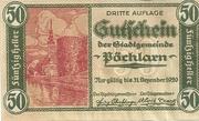 50 Heller 1920 Gutschein – avers