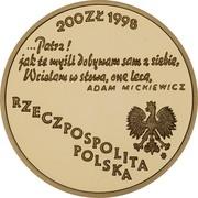 200 Złotych (Bicentenary of Adam Miczkiewicz's birth   ) -  avers