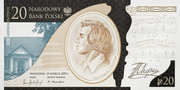 20 Złotych (200th anniversary of the birth of Frédéric Chopin) – avers