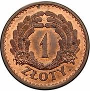 1 Złoty ( Ears; Trial Strike Bronze) – revers