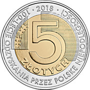 5 Złotych (100th Anniversary of Regaining Independence by Poland) -  revers
