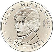 100 Złotych (Adam Mickiewicz - with hair under left eye; Trial Strike) -  avers