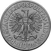 100 Złotych (Polish Millennium Trail Strike CuNi faces right with eagle; large eagle 2nd type) -  avers