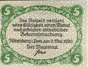 5 Pfennig (Nörenberg) – revers