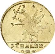 5 Thaler - Adolph Friedrich (Adolphs d'or) – revers