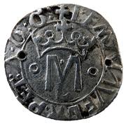 """Vintém (couronné M avec """"o-o"""" de chaque côté et L sous M, Lisbonne frappe) - Manuel I – avers"""