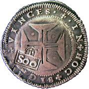 500 réis - Pierre II (monnaie contremarquée) -  revers