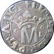 """Vintém (couronné M avec """"o-oL"""" de chaque côté, Lisbonne frappe) - Manuel I – avers"""