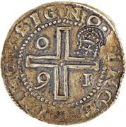 """4000 réis (contremarqué avec """"couronné 4"""" sur """"4 cruzados"""") - Alphonse VI – avers"""