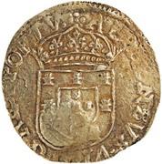 """4000 réis (contremarqué avec """"couronné 4"""" sur """"4 cruzados"""") - Alphonse VI – revers"""
