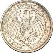 3 mark - Wilhelm II (Appartenance du comté de Mansfeld au royaume de Prusse) – revers